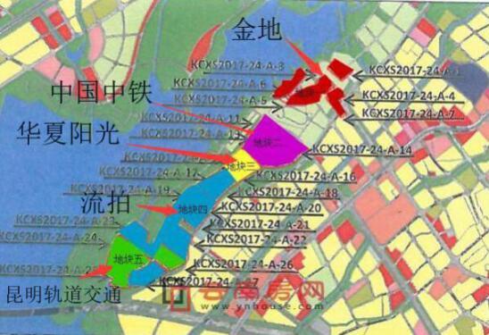 环草海片区中铁诺德、金地、华夏阳光项目地块位置图